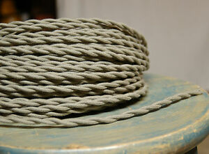 Clay Color Twisted Cloth Covered Wire, Vintage Style Lamp Cord, Antique Lights