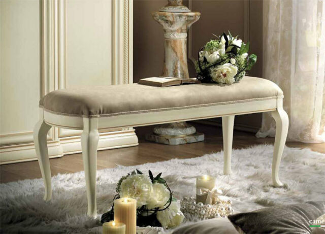 Sitzbank Polsterbank Hocker Bank Schlafzimmer Lindenholz Stil Möbel aus Italien