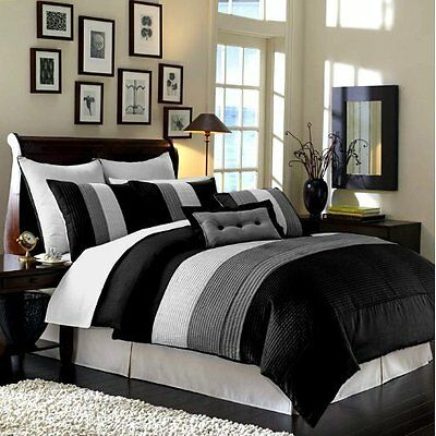 Luxury Stripe Full Size 8 Piece Black Grey and White Bedding Comforter  Set