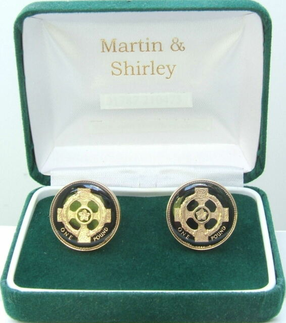 Irish Celtic Cross cufflinks real £1 coins in Black & Gold