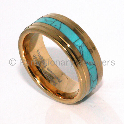 Turquoise Tungsten Ring Dyed Inlay 9MM Step Bevel Edge Gold IP Comfort Fit