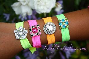Set-of-4-Neon-FOE-bling-rhinestone-button-bracelet