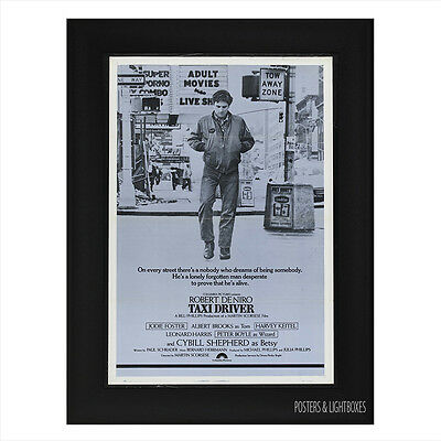 TAXI DRIVER ROBERT DE NIRO Ref 02 Framed Film Movie Poster A4 Black Frame