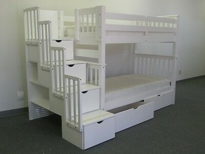 TALL STAIRWAY BUNK BED $875 Twin over Twin White 4 Drawers in Steps + 2 Drawers