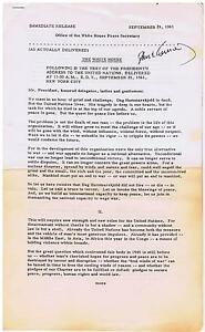 John-F-Kennedy-Signed-Official-Press-Release-Speech-to-UN-September-25-1961