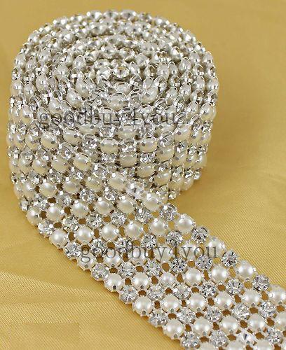 1 Yard 5mm Diamond A Rhinestone and Pearl Wedding Cake Banding Trim Ribbon Deco