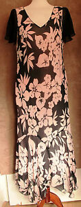 Full-length-Mother-of-Bride-Pink-amp-Black-Silk-Dress-Gold-by-Michael-H-Size-M