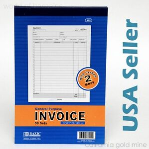 INVOICE-Receipt-Record-BOOK-2-Part-50-Sets-Numbered-Original-Duplicate-w-Carbon