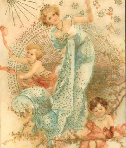 RARE CLAPSADDLE..! FANTASY LADY PLAYS WITH CHERUBS IN TREE,CHROMOLITH,POSTCARD