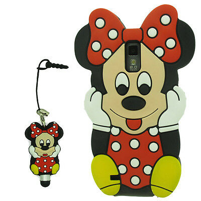3D Red Minnie Mouse Silicone Case Cover For Samsung Galaxy S2 SII T-Mobile T989