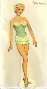 BETTY GRABLE Cardstock Paper Doll with clothes and accessories (circa 1990's)