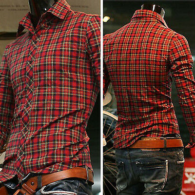 Mens Long Sleeve Luxury Casual Plaid Slim Stylish Dress Shirts  - S, M, L, XL-