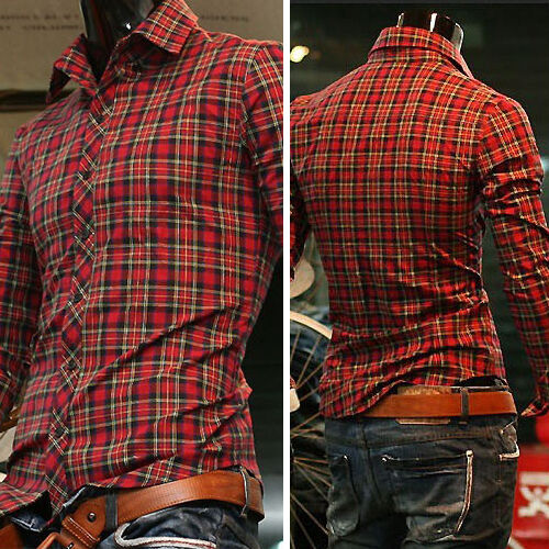 Fashion Mens Luxury Casual Slim Fit Stylish Dress Shirts Long Sleeve Plaid Shirt