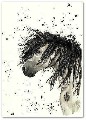 Mustang Curly Horse Native American Feathers Grey Dun - by BiHrLe Print 8.5 x 11