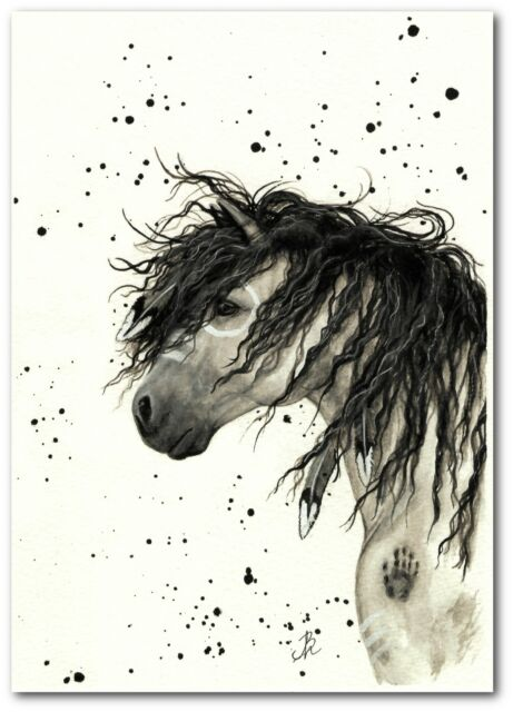 Mustang Curly Horse Native American Feathers Grey Dun - BiHrLe Print 5x7