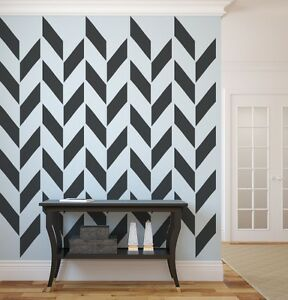 Herringbone wall decal as seen in gray magazine Painting geometric patterns on walls