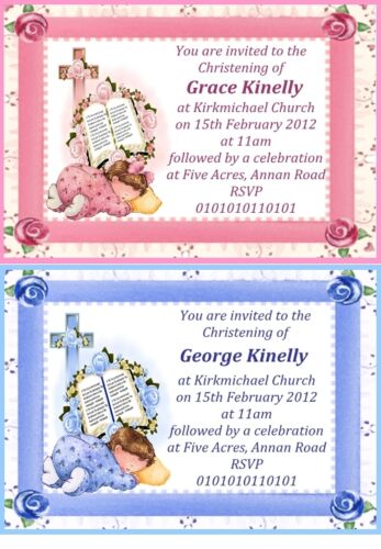 "50 LARGE 6"" X 4"" PERSONALISED DESIGNER CHRISTENING INVITATIONS FOR GIRL OR BOY"
