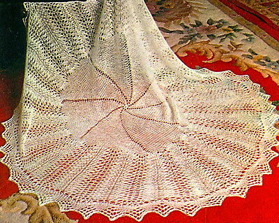 Vintage knitting pattern-How to make a lace baby heirloom christening shawl