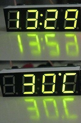 3 in 1 Green Digital Display Electronic Time Clock  + Thermometer + Voltmeter