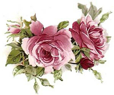 AMaZinG!! PinK TeA RoSeS & SWaGs ShaBby WaTerSLiDe DeCALs ~SMaLL~