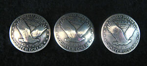 (3) SILVER STANDING LIBERTY QUARTER BUTTONS/CONCHOS (domed)(tails) #846