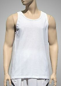 White-Light-Weight-Poly-Cotton-Tank-Top-by-Augusta-Mens-Medium-NEW