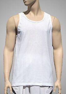 Tank-Top-Plain-White-Light-Weight-Poly-Cotton-by-Augusta-Men-039-s-XL