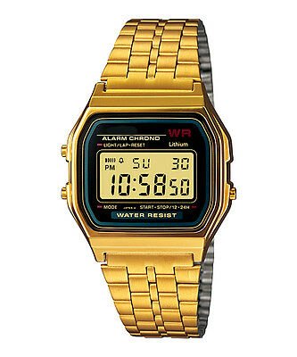 Classic Gold Metal Watch Fashion Vintage Digital Display Retro LCD Style 80s