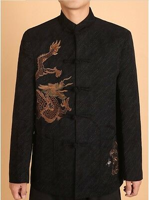 Chinese Men's Dragon Kung Fu Party Jacket/Coat Black Size: S M L XL XXL