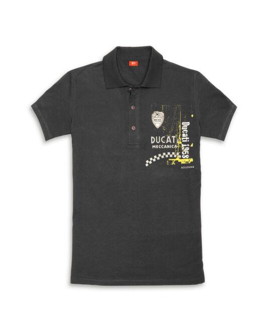 DUCATI RETRO Meccanica short sleeve Polo T-Shirt grey new