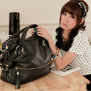 New-Lady-Korean-Hobo-PU-Tassel-Leather-Handbag-Shoulder-Bag-Large-Capacity-P309
