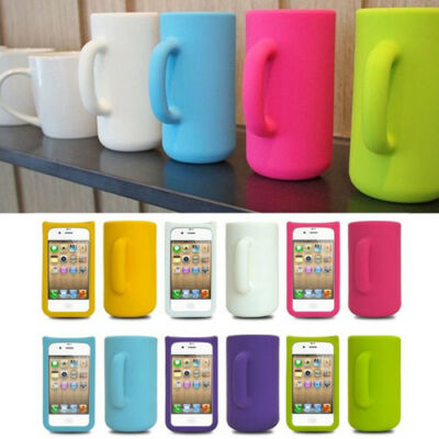 Soft Mug Cup 3D Design Silicone Skin Back Case Protector Cover For iphone 4 4S