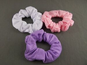 White-Pink-Purple-set-3-jersey-knit-ponytail-holder-hair-tie-elastic-scrunchies