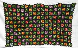 Vintage-1960s-Ombre-Granny-Square-Hand-Crocheted-Afghan-Quilt-Throw-Blanket