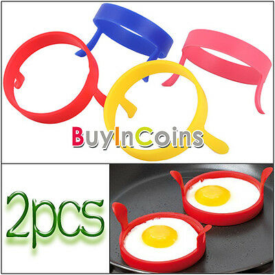 2Pcs home cooking Fried Fry Frier Oven Pancake Egg Poach Ring round tools