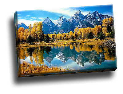 Autumn Grandeur, Grand Teton Giclee Canvas Framed Wall Art  Picture