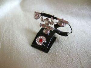 dollhouse-doll-house-miniature-FANCY-FRENCH-PHONE-BLACK