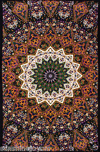 Purple-Star-Indian-Tapestry-Beach-Sheet-85x100-Wall-Hanging-w-Tie-Down-Loops
