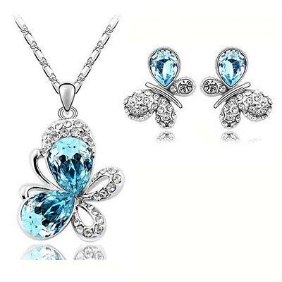 Sky Blue Crystal & Rhinestone Butterflies Jewellery Set Earrings & Necklace S199