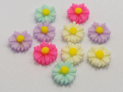 50 Mixed Color Cabochon Daisy Flower Flatback Resin 11mm DIY Embellishments