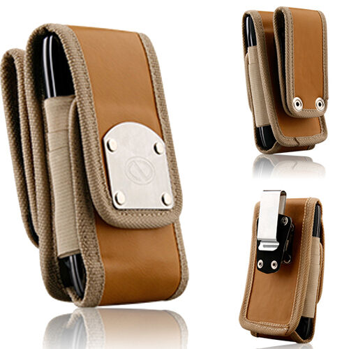 Glad Nubuck Brown Leather Rugged Clip or Duty Belt Case for Samsung Galaxy S4