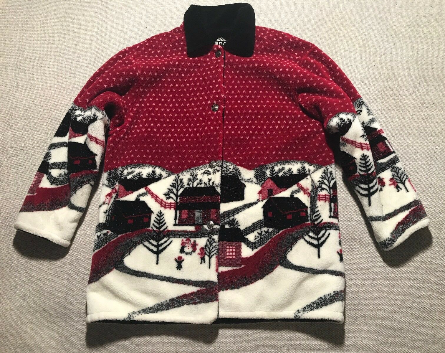Vtg Denali Reversible Winter Cottage Snow  Plush Fleece Coat SEE MEASUREMENT  Bb