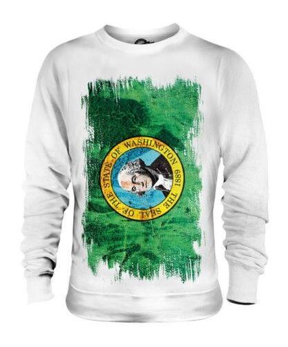Washington State Grunge Flag Unisex Pullover Top Washingtonian Hemd Geschenk