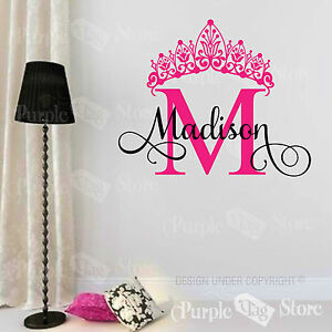 custom name monogram initial crown vinyl wall room decal sticker
