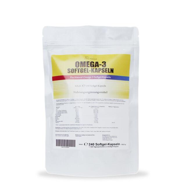 Omega-3 240 Kapseln a 1000mg Fischöl 600 mg - 360 EPA 240 DHA pro Dosis