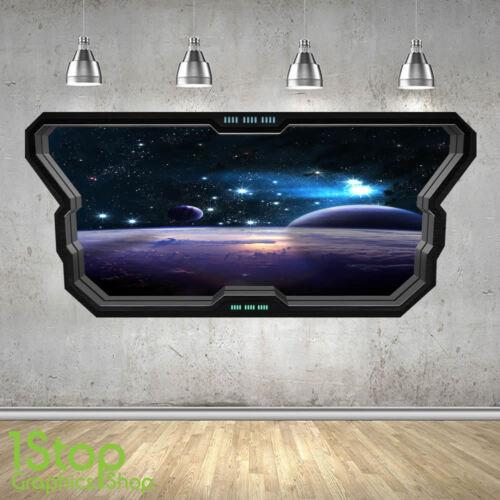Espace autocollant mural fenêtre 3D look-lune planète galaxie étoiles garçons chambre à coucher Z347