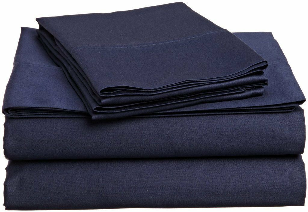 Ultra Soft 100% Cotton 1 Fitted Sheet + 2 Pillow Cover 800 TC Navy bluee Solid
