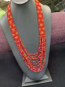 Vintage Boheniman Pink Bright Interesting  Seed Multi Strand Long Necklace Boho