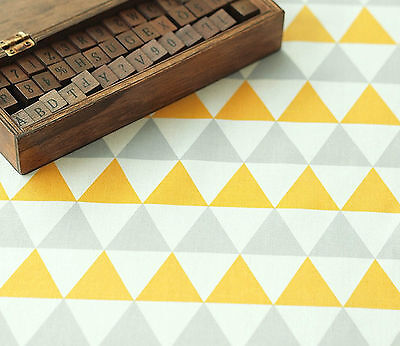 Yellow and Grey triangle 100% Cotton Fabric / All sizes/ Quilting fabric (fft196