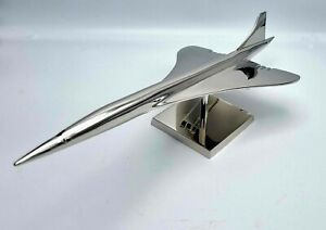 Maquette Concorde en Laiton Nickelé au 1/150 Socle Siglé Concorde AIR FRANCE